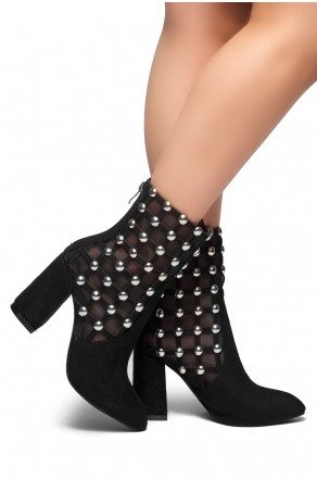 HerStyle New Generation-Chunky heel, Mesh and studs detail(Black)
