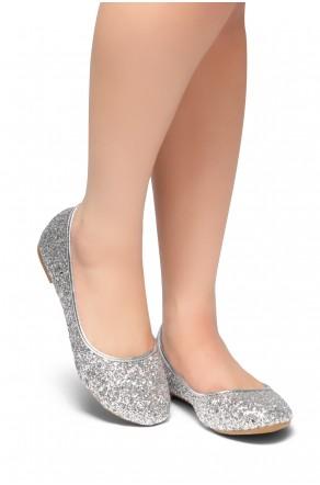 HerStyle New Lover-Round Toe, Glitter Details, Ballet Flat (Silver)