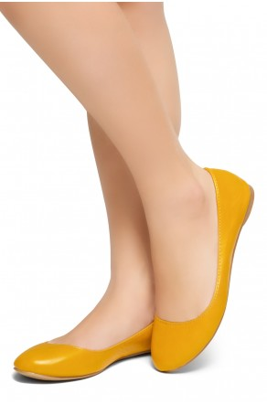 HerStyle New Memory-2 -Round Toe, No detail, Ballet Flat (Mustard)