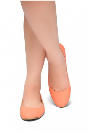 HerStyle New Memory-Round Toe, No detail, Ballet Flat (Coral)