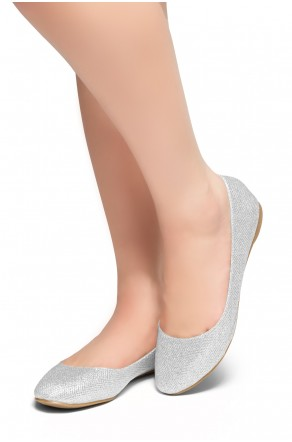 HerStyle New Memory-Round Toe, No detail, Ballet Flat (Silver)