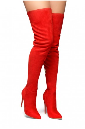 HerStyle Night Moves-Stiletto heel, thigh high (Red)