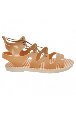 Women's Nude Manmade Nihoa Jelly Sandal with Lace-up Gladiator Vamp