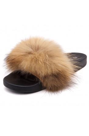 Shoe Land NIKINI Womens Fur Slides Fuzzy Slippers Fashion Fluffy Comfort Flat Sandals(1921BrownMulti)