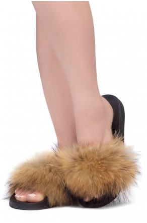Shoe Land NIKINI Womens Fur Slides Fuzzy Slippers Fashion Fluffy Comfort Flat Sandals(1921BrownMulti)