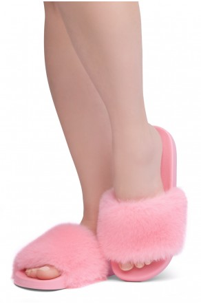 Shoe Land NIKINI Womens Fur Slides Fuzzy Slippers Fashion Fluffy Comfort Flat Sandals(2020 H.Pink/H.Pink)
