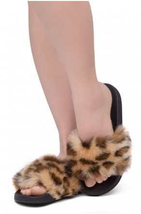 Shoe Land NIKINI Womens Fur Slides Fuzzy Slippers Fashion Fluffy Comfort Flat Sandals(2020 Leopard/Black)