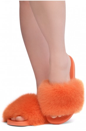 Shoe Land NIKINI Womens Fur Slides Fuzzy Slippers Fashion Fluffy Comfort Flat Sandals(2020 Orange/Orange)
