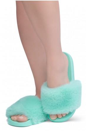 Shoe Land NIKINI Womens Fur Slides Fuzzy Slippers Fashion Fluffy Comfort Flat Sandals(2020 Teal/Teal)