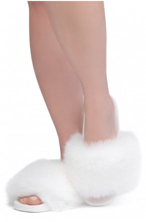 Shoe Land NIKINI Womens Fur Slides Fuzzy Slippers Fashion Fluffy Comfort Flat Sandals(2020 White/White)