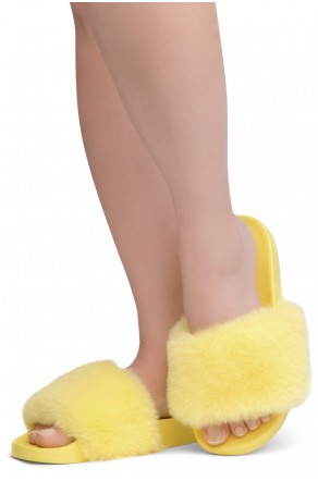 Shoe Land NIKINI Womens Fur Slides Fuzzy Slippers Fashion Fluffy Comfort Flat Sandals(2020 Yellow/Yellow)