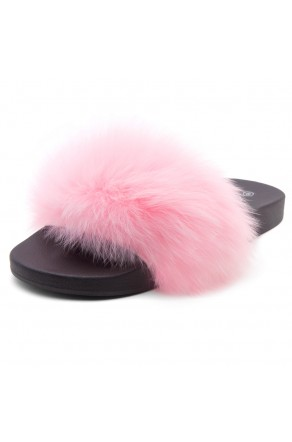 Shoe Land NIKINI Womens Fur Slides Fuzzy Slippers Fashion Fluffy Comfort Flat Sandals(Pink/Black)