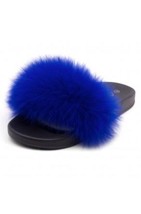 Shoe Land NIKINI Womens Fur Slides Fuzzy Slippers Fashion Fluffy Comfort Flat Sandals(R.BLU/BLK)