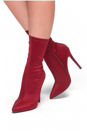 HerStyle Noassa Pointed toe, stiletto heel, sock Boot style (Burgundy)