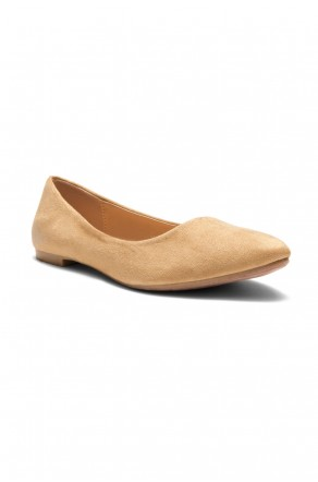 HerStyle Women's Manmade Nstaffno Simple Faux Suede Pointy Toe Flats - Camel