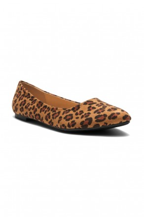 HerStyle Women's Manmade Nstaffno Simple Faux Suede Pointy Toe Flats - Leopard print