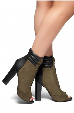 HerStyle On Da Block- a peep toe, chunky heel booties (Olive)
