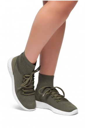 HerStyle Onefour-Knit Fitted Sock Sneakers(Olive)