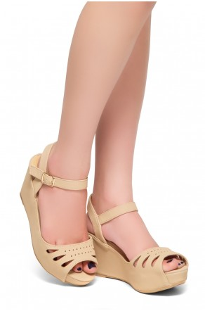 HerStyle Only Choice-Peep Toe Ankle Strap Open Back Wedge Sandals (Beige)