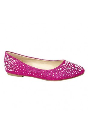 Women's Fuchsia Manmade Pallas Studded Pump Flat with Glittering Beads