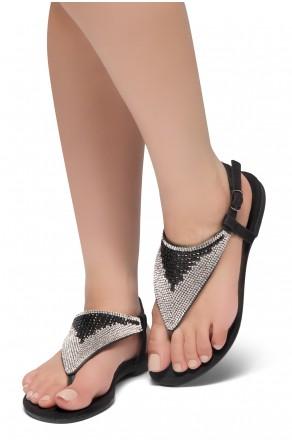 HerStyle PERFECT DAY-Open Toe Rhinestone Thong Flat Sandal (Black)