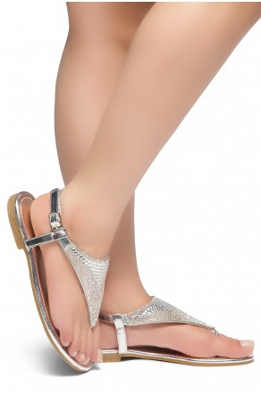 HerStyle PERFECT DAY-Open Toe Rhinestone Thong Flat Sandal (Silver)