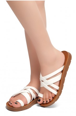 HerStyle Possible-Toe Ring with Unique Crisscross Straps Slide Sandals (White)