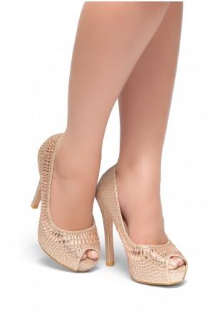 HerStyle Preeda-Peep toe platform, Stiletto heel, Jewel embellishment (Rose Gold)