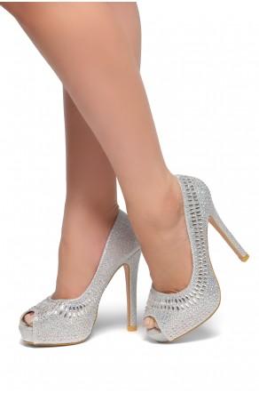 HerStyle Preeda-Peep toe platform, Stiletto heel, Jewel embellishment (Silver)