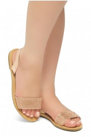HerStyle Women's Manmade Pretty Nice Slip-On Rhinestone Vamp Sandals  (RoseGold)