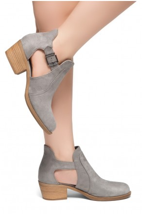 HerStyle Prisila-Stacked Heel Almond Toe Booties (Grey)