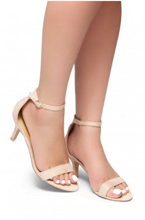 HerStyle Pure Love-Stiletto Heel, Ankle Strap Sandals (Nude)