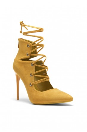 Herstyle Roebelle Women's Faux Suede Pointy Toe Lace-Up Stiletto Pump - Mustard