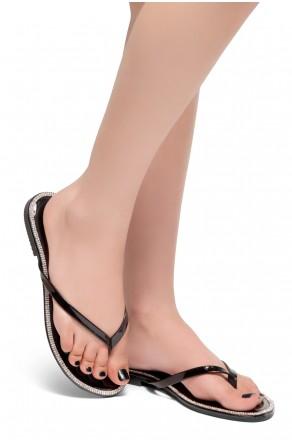HerStyle Rosalyn-Rhinestone Details Open Toe Thong Slide Sandal (Black)