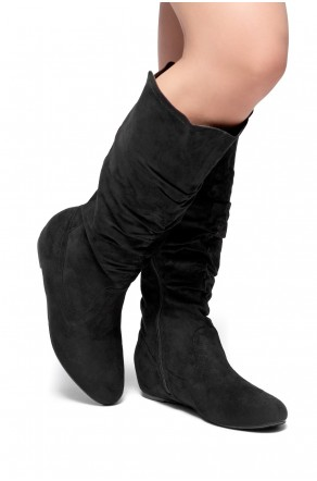 Women's Black Wide Calf Faux Suede Slouchy Hidden Wedge Boot ROSEMARRY