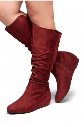 HerStyle Women's Wide Calf Faux Suede  Slouchy Hidden Wedge Boot ROSEMARRY (Burgundy)