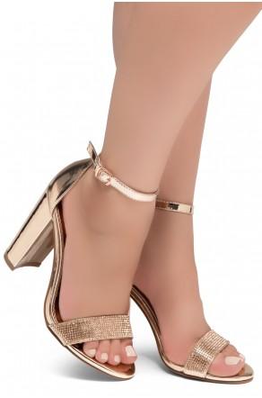 Shoe Land Rosemmina Open Toe Ankle Strap Chunky Heel (1896RoseGold)