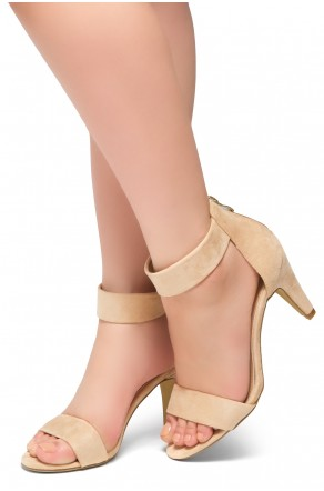 HerStyle RRose-Stiletto heel, back zipper closure (Beige)