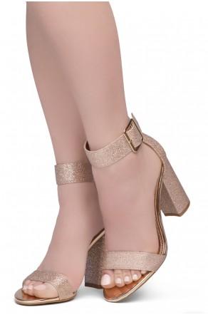 Shoe Land SL-GRACE Women's Open Toe Ankle Strap Chunky Platform Dress Heel Sandal(2020R.GLD/R.GLD)
