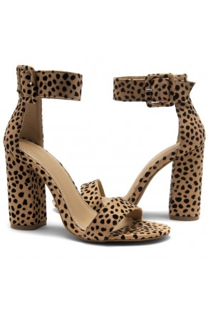 HerStyle Rumors-Chunky heel, ankle strap (Cheetah)