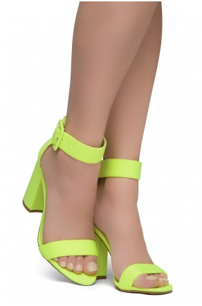 HerStyle Rumors-Chunky heel, ankle strap (LimeNeon)