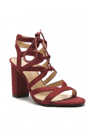HerStyle Sallory open toe, wrapped chunky heel, a gladiator inspired strappy cagey vamp with front lace-up (Burgundy)