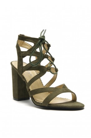 HerStyle Sallory open toe, wrapped chunky heel, a gladiator inspired strappy cagey vamp with front lace-up (Olive)
