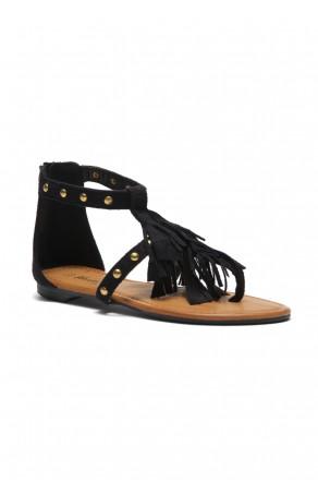 Women's Black Sammson Studded T-Strap Sandal with Soft Fringed Straps