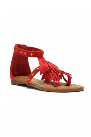 Women's Fuchsia Sammson Studded T-Strap Sandal with Soft Fringed Straps