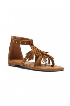Women's Tan Sammson Studded T-Strap Sandal with Soft Fringed Straps
