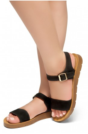 HerStyle Women's Manmade Sannibel Flat Sandal with One-Band Vamp, Open Toe (Black)