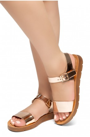 HerStyle Women's Manmade Sannibel Flat Sandal with One-Band Vamp, Open Toe (RoseGold)