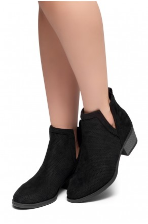 HerStyle Sassa-Stacked Heel Almond Toe Booties (Black)