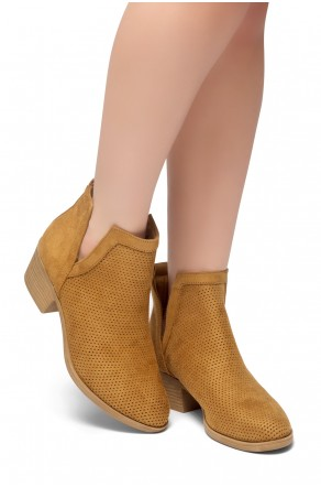 HerStyle Sassa-Stacked Heel Almond Toe Booties (Tan)